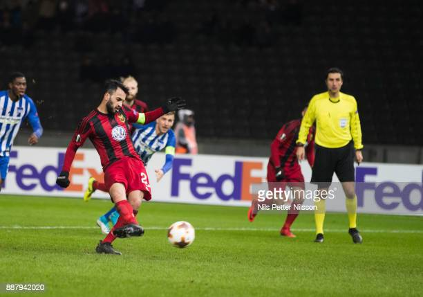 Brwa Nouri of Ostersunds FK shoots a penalty shot during the UEFA Europa League group J match between Hertha BSC and Ostersunds FK at the Olympic...