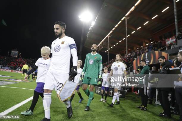 Brwa Nouri of Ostersunds FK walking on to the pitch ahead of the UEFA Europa League group J match between Ostersunds FK and Athletic Bilbao at...