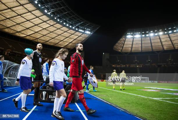 Brwa Nouri of Ostersunds FK walks on the pitch ahead of the UEFA Europa League group J match between Hertha BSC and Ostersunds FK at the Olympic...