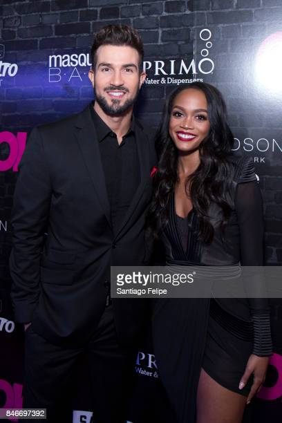 Bryan Abasolo and Rachel Lindsay of 'The Bachelorette' attend OK Magazine's Fall Fashion Week 2017 Event at Hudson Hotel on September 13 2017 in New...