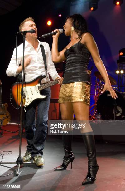 Bryan Adams and Beverley Knight during Rock by the River in Aid of the Royal Marsden Hospital at Old Billingsgate in London Great Britain