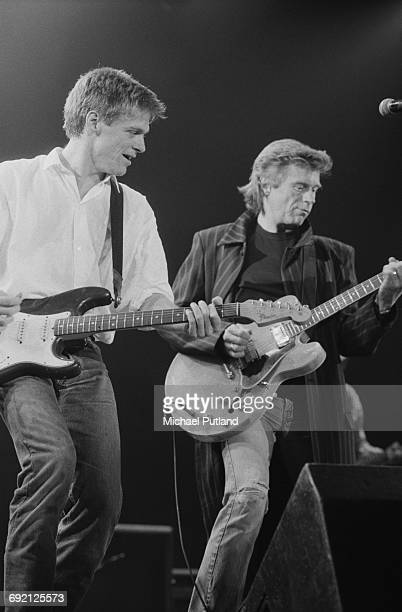 Bryan Adams and Dave Edmunds performing at the Prince's Trust Concert Wembley Arena London 6th June 1987