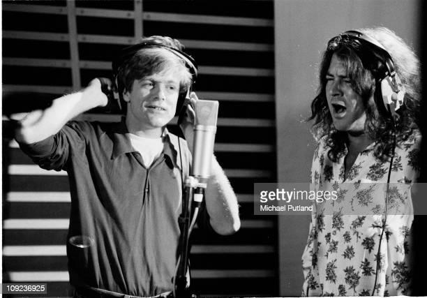 Bryan Adams and Ian Gillan during recording for Armenian earthquake appeal London 1989