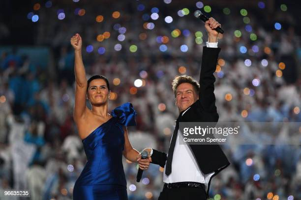 Bryan Adams and Nelly Furtado perform during the Opening Ceremony of the 2010 Vancouver Winter Olympics at BC Place on February 12, 2010 in...