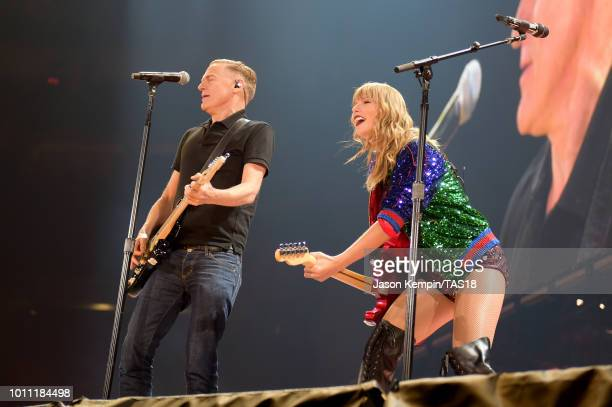 Bryan Adams and Taylor Swift perform onstage during the Taylor Swift reputation Stadium Tour at Rogers Centre on August 4, 2018 in Toronto, Canada.