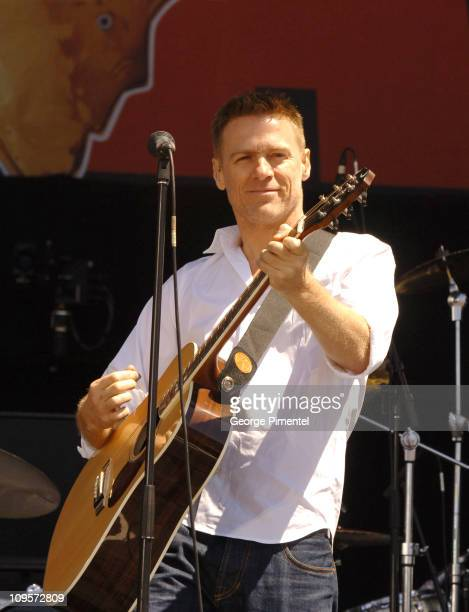 Bryan Adams during LIVE 8 Canada Show at Park Place in Barrie Ontario Canada