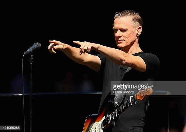 Bryan Adams performs during the 2015 AFL Grand Final match between the Hawthorn Hawks and the West Coast Eagles at Melbourne Cricket Ground on...