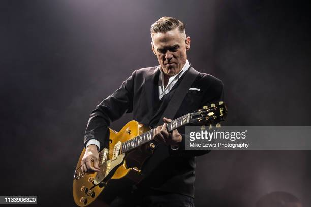 Bryan Adams performs on stage at Motorpoint Arena on March 05, 2019 in Cardiff, Wales.