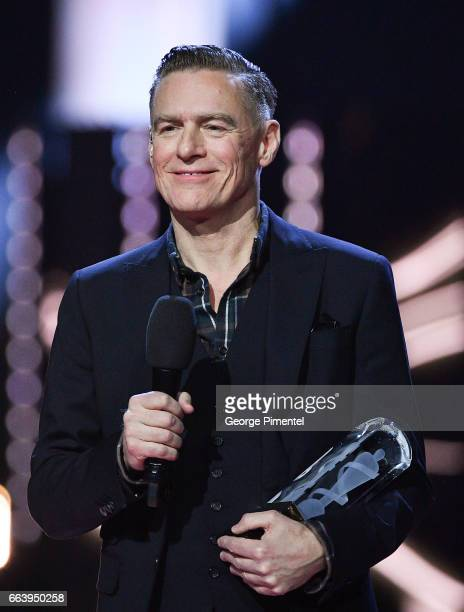 Bryan Adams presents award at the 2017 Juno Awards at The Canadian Tire Centre on April 2 2017 in Ottawa Canada