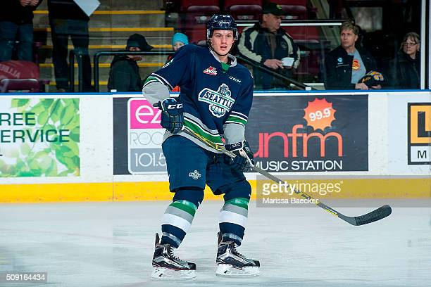 Bryan Allbee of the Seattle Thunderbirds warms up against the Kelowna Rockets on February 8 2016 at Prospera Place in Kelowna British Columbia Canada