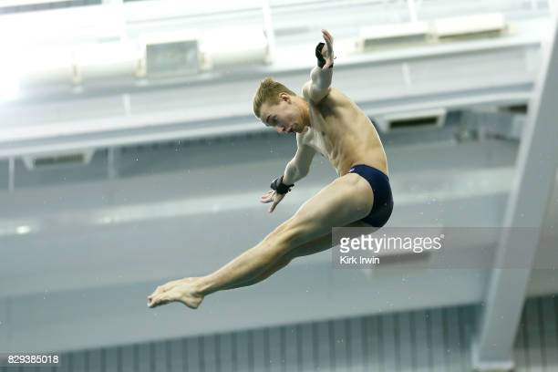 Bryan Allen competes during the Senior Men's Platform Semifinal during the 2017 USA Diving Summer National Championships on August 10 2017 in...