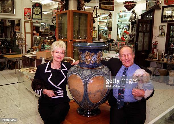 Bryan and Robynne Jackson with their two dogs Cleopatra and Jean Pierre.Bryan with a Doulton vase by Hannah Barlow in their private museum in...