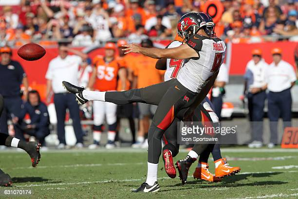 Bryan Anger of the Bucs punts the ball during the NFL game between the Denver Broncos and Tampa Bay Buccaneers on October 02 at Raymond James Stadium...