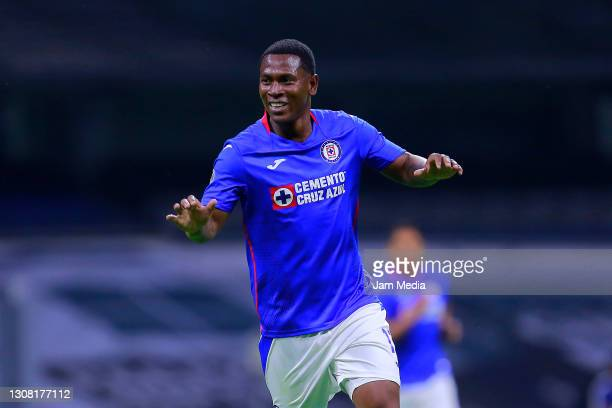Bryan Angulo of Cruz Azul celebrates after scoring his team's first goal during the 12th round match between Cruz Azul and Atlas as part of the...
