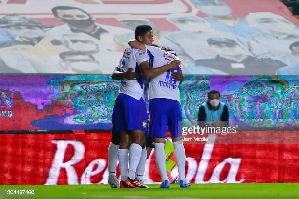 Bryan Angulo of Cruz Azul celebrates after scoring the first goal of his team during the 8th round match between Leon and Cruz Azul as part of the...