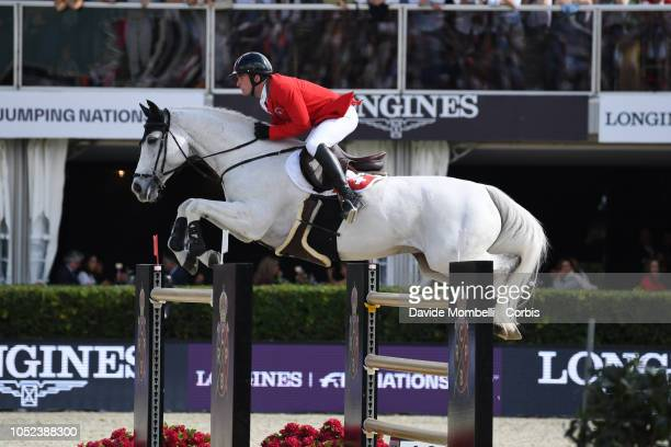 Bryan Balsiger of Switzerland riding Clouzot De Lassus during Longines FEI Jumping Nations Cup Final Competition on October 7 2018 in Barcelona Spain