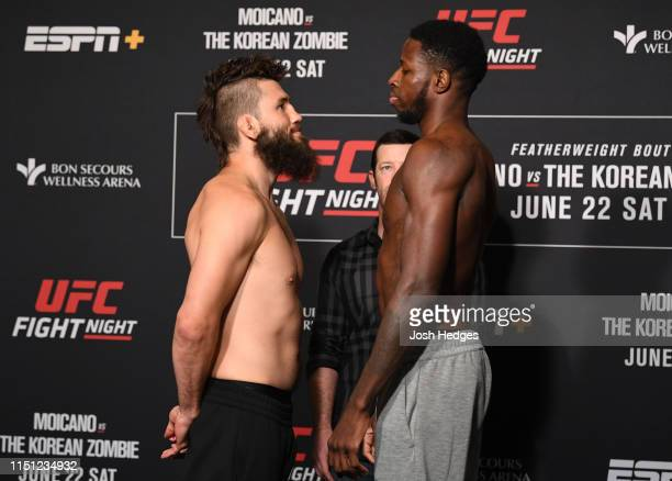 Bryan Barberena and Randy Brown of Jamaica face off during the UFC Fight Night weighin at the Hyatt Regency Greenville on June 21 2019 in Greenville...