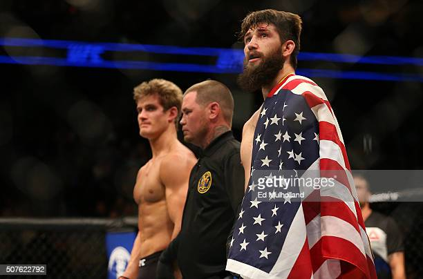 Bryan Barberena celebrates his submission victory over Sage Northcutt in their welterweight bout during the UFC Fight Night event at the Prudential...