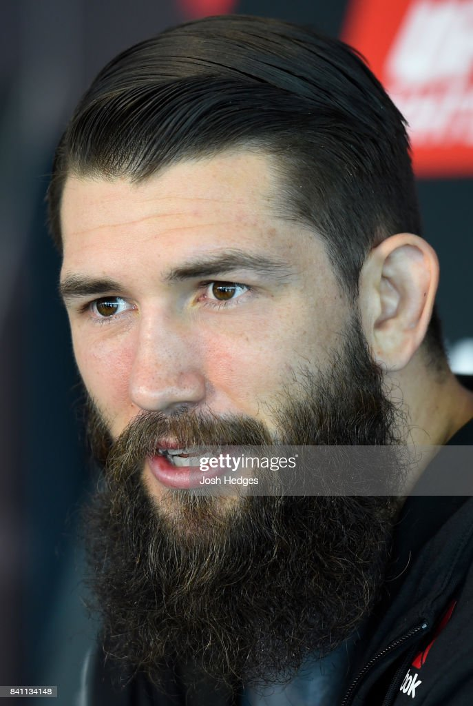 Bryan Barberena interacts with media during the UFC Ultimate Media Day at the Inntel Rotterdam Centre Hotel on August 31, 2017 in Rotterdam, Netherlands.
