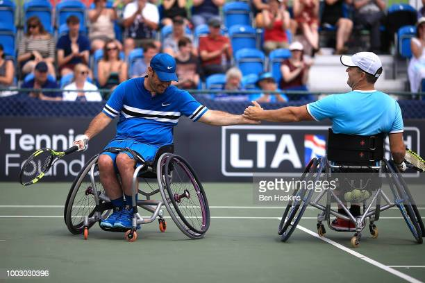 Bryan Barten and David Wagner of The USA celebrate winning the final of the men's quad doubles against Ymanitu Silva of Brazil and Shota Kawano of...