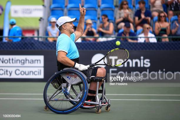 Bryan Barten of The USA celebrates winning the final of the men's quad doubles against Ymanitu Silva of Brazil and Shota Kawano of Japan during day...