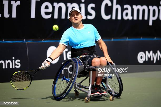 Bryan Barten of The USA plays a forehand during the final of the men's quad doubles against Ymanitu Silva of Brazil and Shota Kawano of Japan on day...
