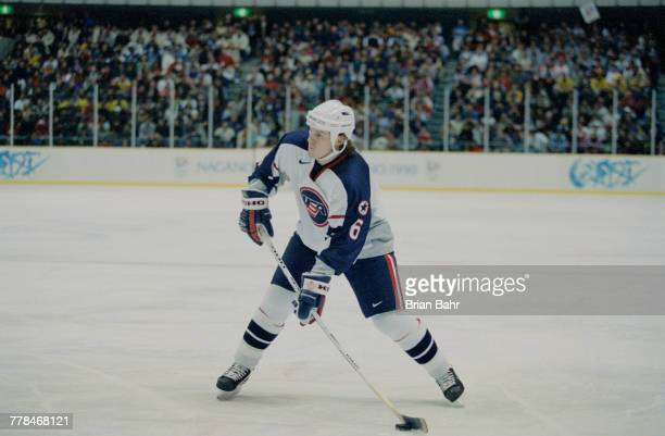 Bryan Bernard of the United States controls the puck during the Group D game against Canada in the Men's Ice Hockey tournament on 16 February 1998...
