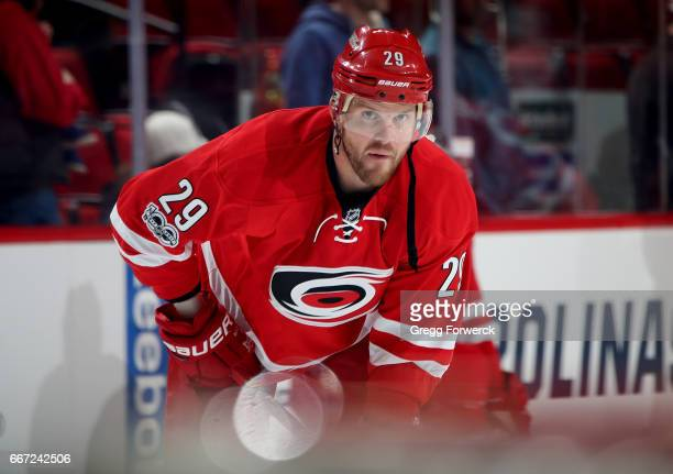 Bryan Bickell of the Carolina Hurricanes is photographed prior to an NHL game against the New York Islanders on April 6 2017 at PNC Arena in Raleigh...