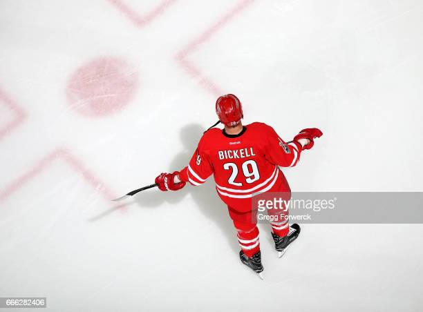 Bryan Bickell of the Carolina Hurricanes is photographer during warmups prior to an NHL game against the St Louis Blues on April 8 2017 at PNC Arena...