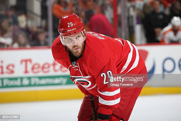 Bryan Bickell of the Carolina Hurricanes prepares for a faceoff during an NHL game against the Philadephia Flyers on October 30 2016 at PNC Arena in...