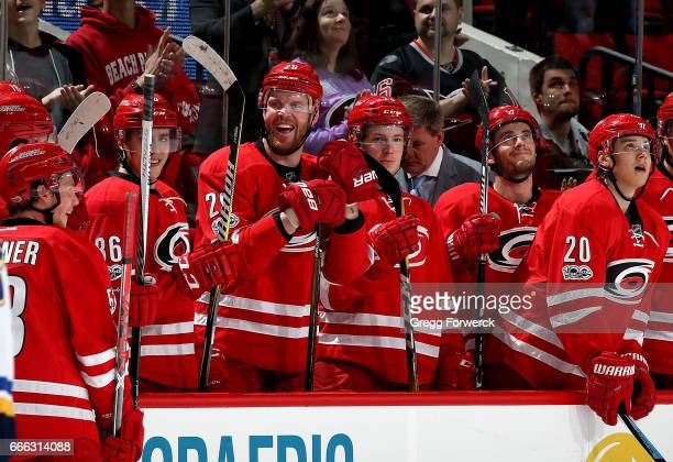Bryan Bickell of the Carolina Hurricanes reacts to fans chanting his name during an NHL game against the St Louis Blues on April 8 2017 at PNC Arena...