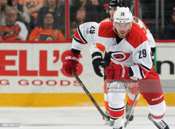 Bryan Bickell of the Carolina Hurricanes skates against the Philadelphia Flyers on April 9 2017 at the Wells Fargo Center in Philadelphia Pennsylvania