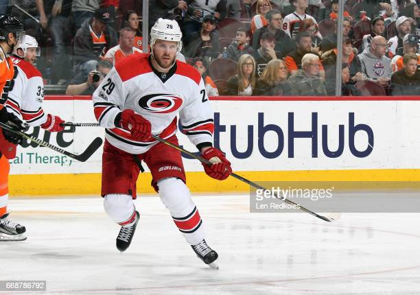 Bryan Bickell of the Carolina Hurricanes skates against the Philadelphia Flyers on April 9 2017 at the Wells Fargo Center in Philadelphia Pennsylvania