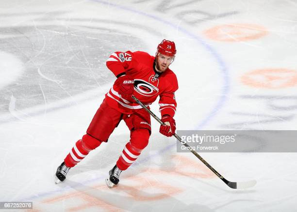 Bryan Bickell of the Carolina Hurricanes skates for position on the ice during an NHL game against the St Louis Blues on April 8 2017 at PNC Arena in...