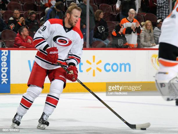 Bryan Bickell of the Carolina Hurricanes skates the puck during warmups prior to his game against the Philadelphia Flyers on April 9 2017 at the...