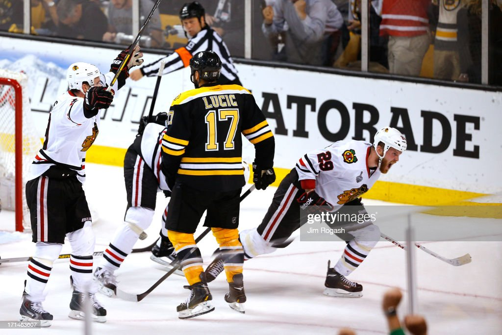 Bryan Bickell #29 of the Chicago Blackhawks celebrates after scoring in the third period against the Boston Bruins in Game Six of the 2013 NHL Stanley Cup Final at TD Garden on June 24, 2013 in Boston, Massachusetts.