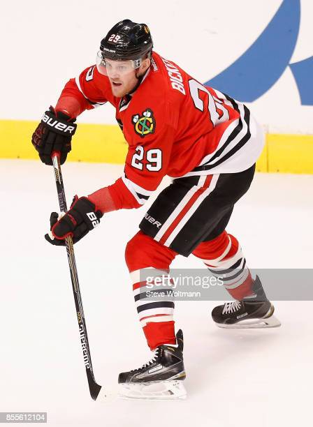 Bryan Bickell of the Chicago Blackhawks plays in a game against the Winnipeg Jets at the United Center on December 23 2014 in Chicago Illinois