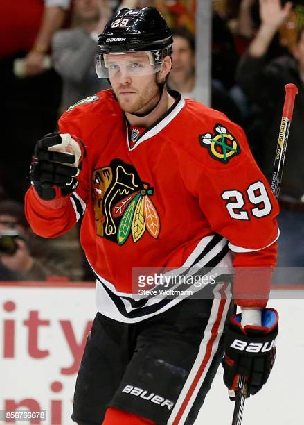 Bryan Bickell of the Chicago Blackhawks plays in a game against the Arizona Coyotes at the United Center on January 20 2015 in Chicago Illinois