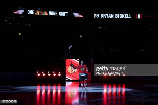 Bryan Bickell of the Chicago Blackhawks skates out to the ice prior to the game against the Pittsburgh Penguins at the United Center on October 5...