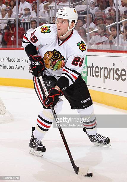 Bryan Bickell of the Chicago Blackhawks skates with the puck in Game Five of the Western Conference Quarterfinals against the Phoenix Coyotes during...