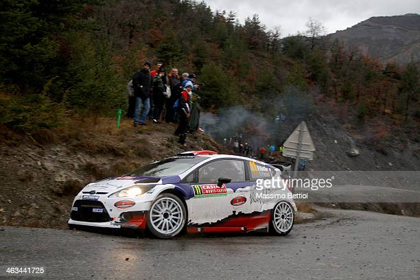 Bryan Bouffier of France and Xavier Panseri of France compete in their MSport Ltd Ford Fiesta RS WRC during Day Two of the WRC MonteCarlo on January...
