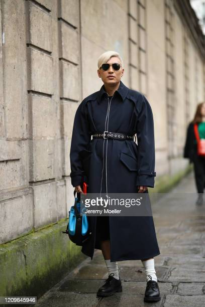 Bryan Boy is seen wearing a Loewe blue bag outside Altuzarra show during Paris Fashion week Womenswear Fall/Winter 2020/2021 Day Six on February 29...