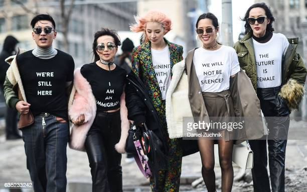 Bryan Boy Tina Craig Irene Kim Aimee Song and Chriselle Lim are seen making a political statement outside of the 31 Phillip Lim show during New York...