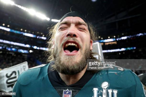 Bryan Braman of the Philadelphia Eagles celebrates after defeating the New England Patriots 4133 in Super Bowl LII at US Bank Stadium on February 4...