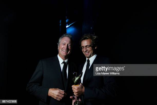 Bryan Brown and Simon Baker pose backstage during the 7th AACTA Awards Presented by Foxtel at The Star on December 6 2017 in Sydney Australia