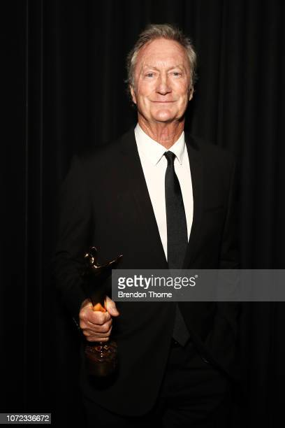 Bryan Brown poses with an AACTA Award for the Longford Lyell Award backstage during the 2018 AACTA Awards Presented by Foxtel at The Star on December...