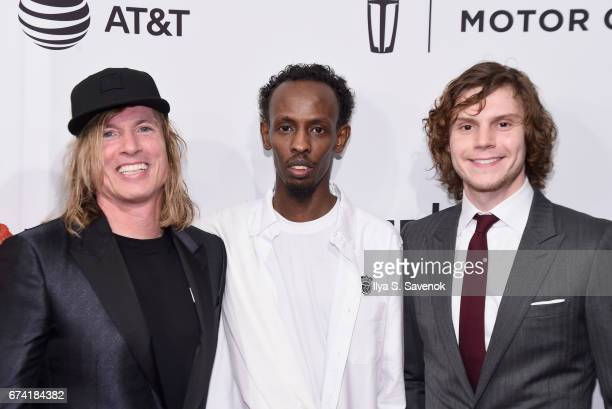 Bryan Buckley Barkhad Abdi and Evan Peters attend the 'Dabka' Premiere during the 2017 Tribeca Film Festival at SVA Theater on April 27 2017 in New...
