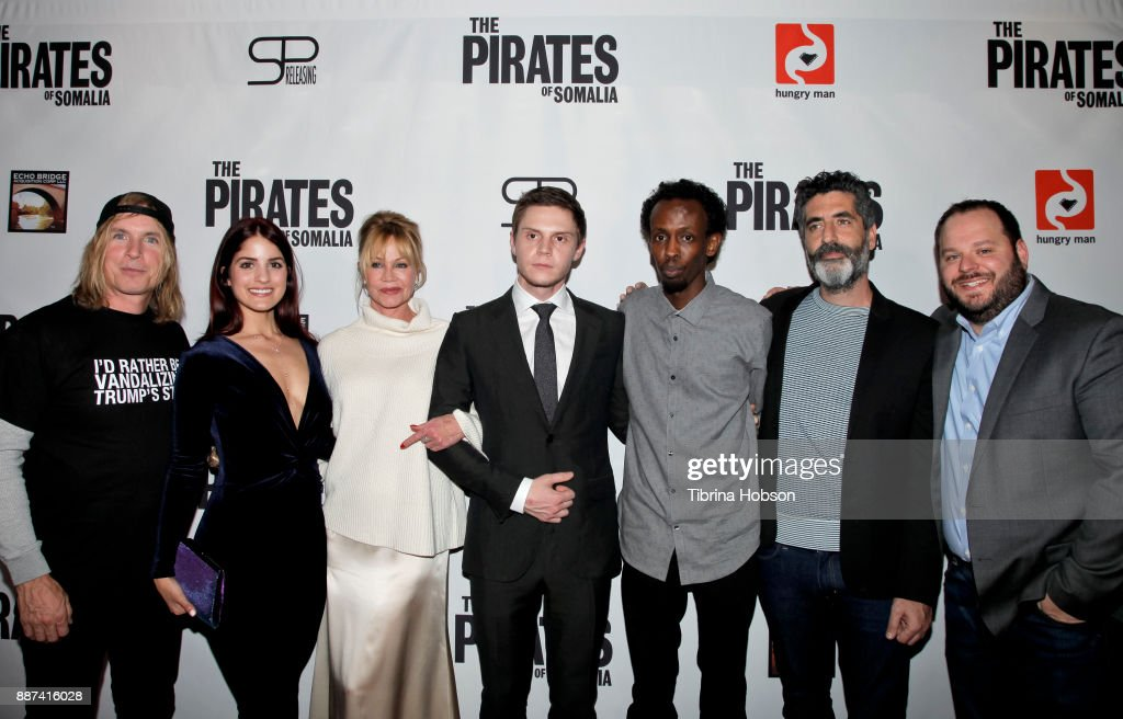 Bryan Buckley, Kiana Madani, Melanie Griffith, Evan Peters, Barkhad Abdi, Mino Jarjoura and Matt Lefebvre attend the premiere of 'The Pirates Of Somalia' at TCL Chinese 6 Theatres on December 6, 2017 in Hollywood, California.