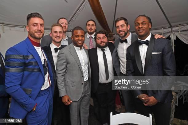 Bryan Bulaga Randall Cobb David Bakhtiari Aaron Rogers and Davante Adams of the Green Bay Packers attends the Barnstable Brown Derby Eve Gala on May...
