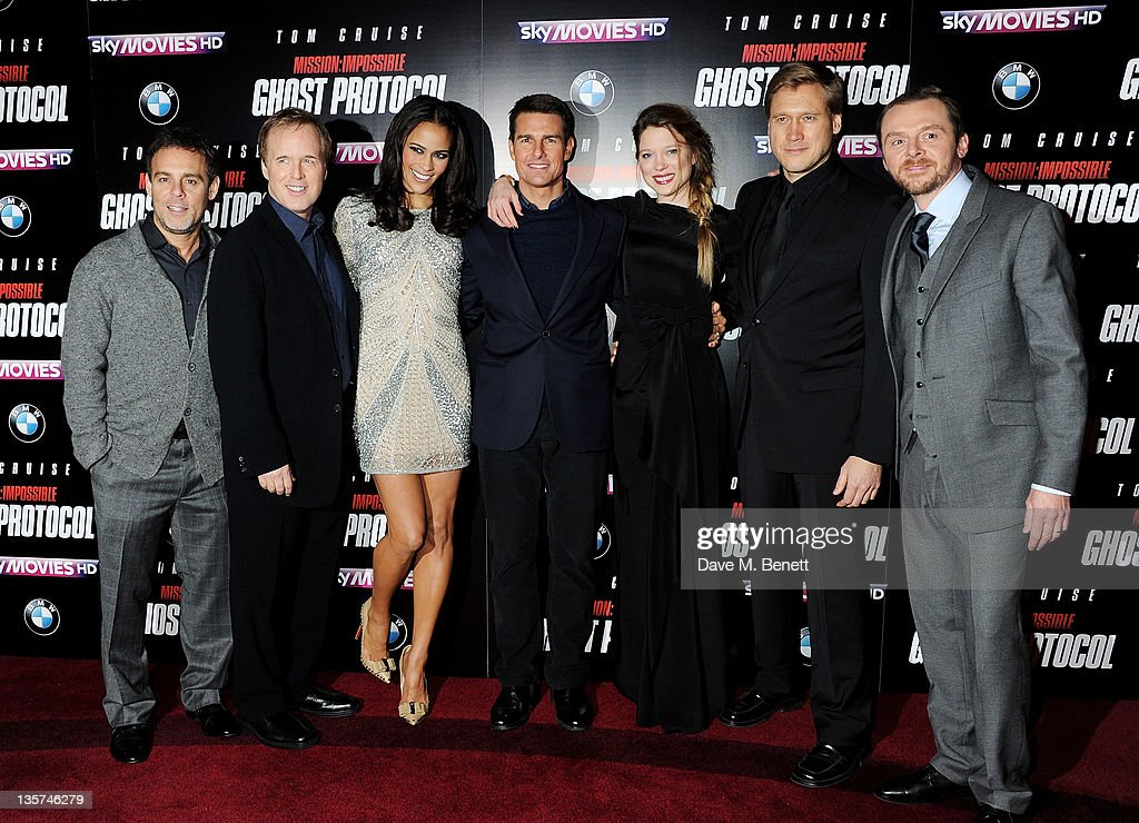 Bryan Burk, Brad Bird, Paula Patton, Tom Cruise, Lea Seydoux, Samuli Edelmann and Simon Pegg attend the UK Premiere of 'Mission: Impossible Ghost Protocol' at BFI IMAX on December 13, 2011 in London, England.